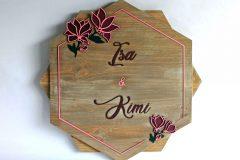 Cartel personalizado de madera modelo Magnolia para parejas