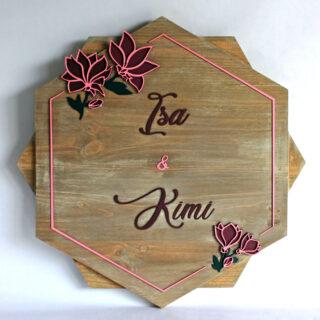 cartel personalizado madera parejas magnolia