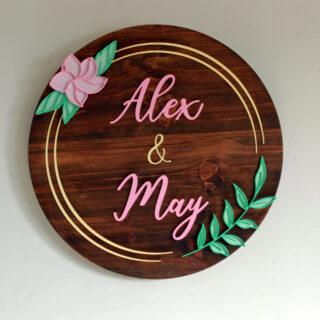 Cartel personalizado pareja nombres personalizados